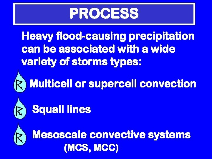 PROCESS Heavy flood-causing precipitation can be associated with a wide variety of storms types: