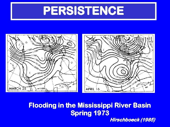 PERSISTENCE Flooding in the Mississippi River Basin Spring 1973 Hirschboeck (1985)