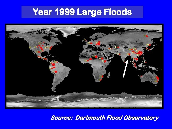 Year 1999 Large Floods Source: Dartmouth Flood Observatory