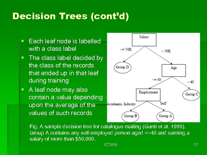 Decision Trees (cont'd) § Each leaf node is labelled with a class label §
