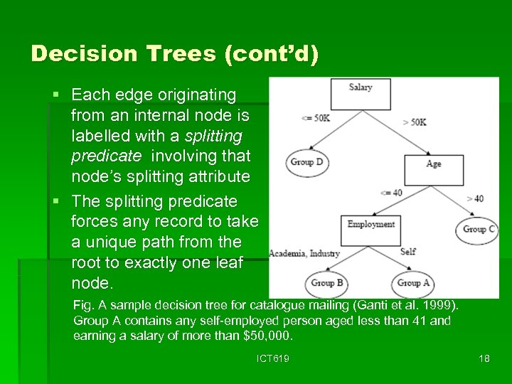 Decision Trees (cont'd) § Each edge originating from an internal node is labelled with