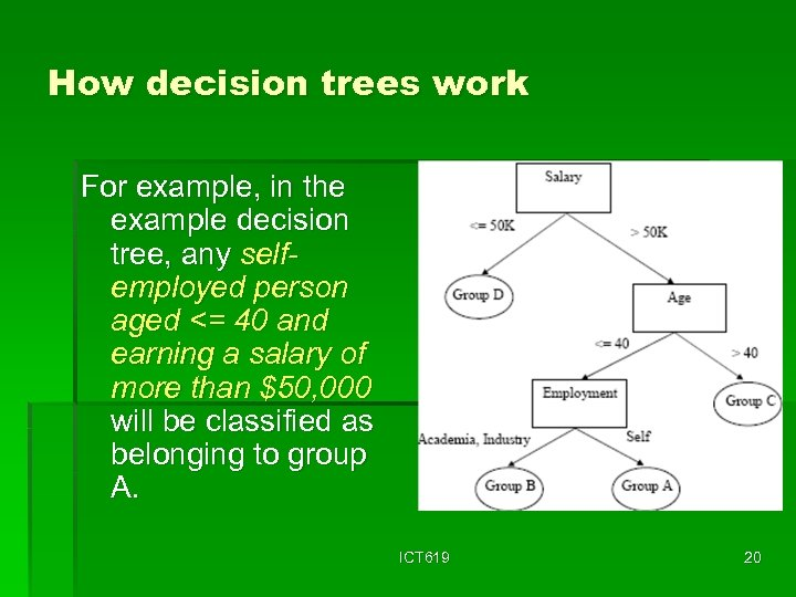How decision trees work For example, in the example decision tree, any selfemployed person