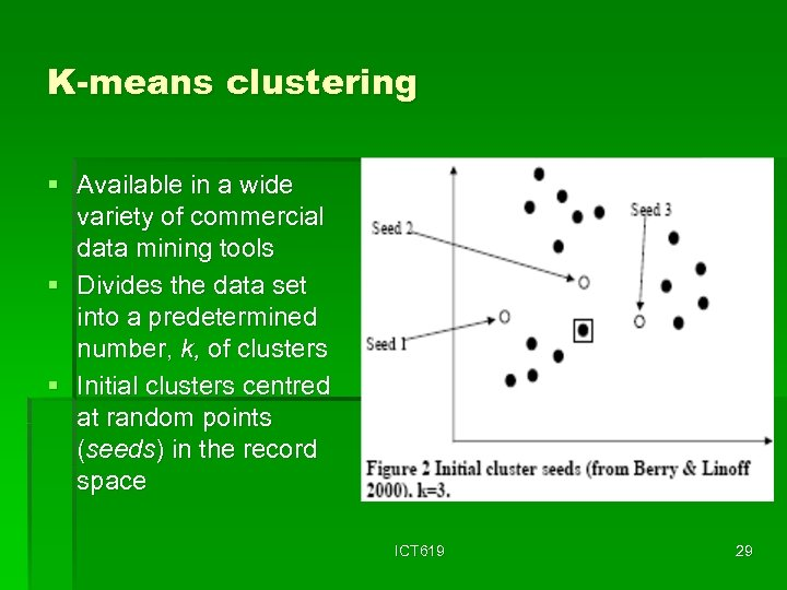 K-means clustering § Available in a wide variety of commercial data mining tools §
