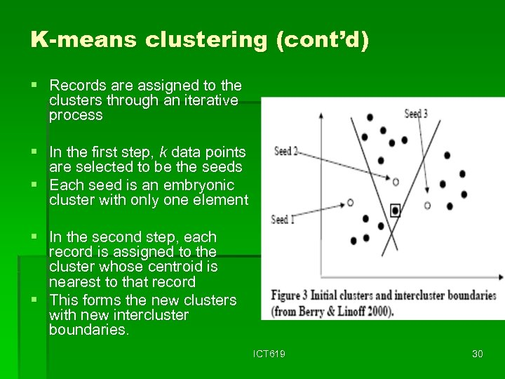 K-means clustering (cont'd) § Records are assigned to the clusters through an iterative process