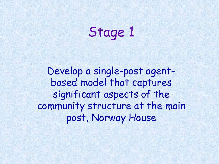 Stage 1 Develop a single-post agentbased model that captures significant aspects of the community