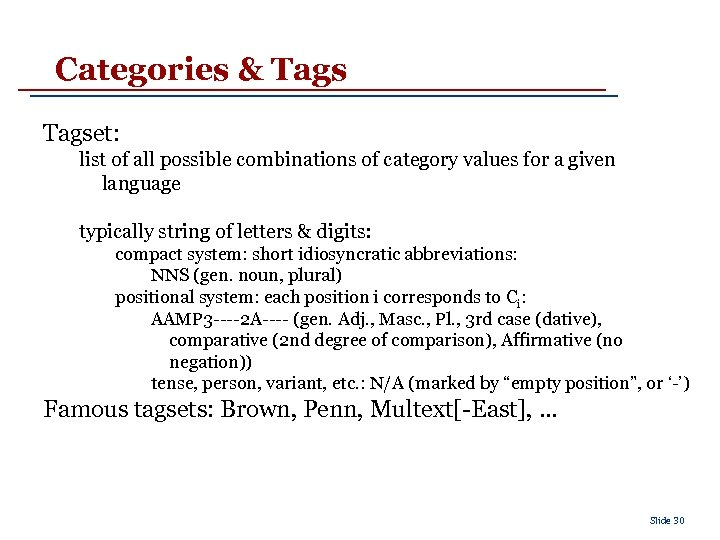 Categories & Tagset: list of all possible combinations of category values for a given
