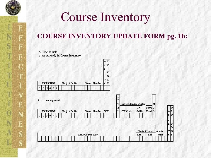 Course Inventory COURSE INVENTORY UPDATE FORM pg. 1 b: 8. Course Data a. As