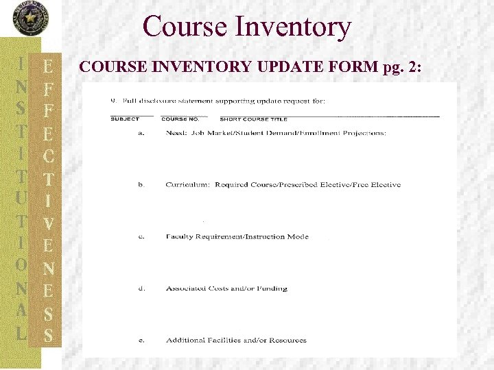 Course Inventory COURSE INVENTORY UPDATE FORM pg. 2: