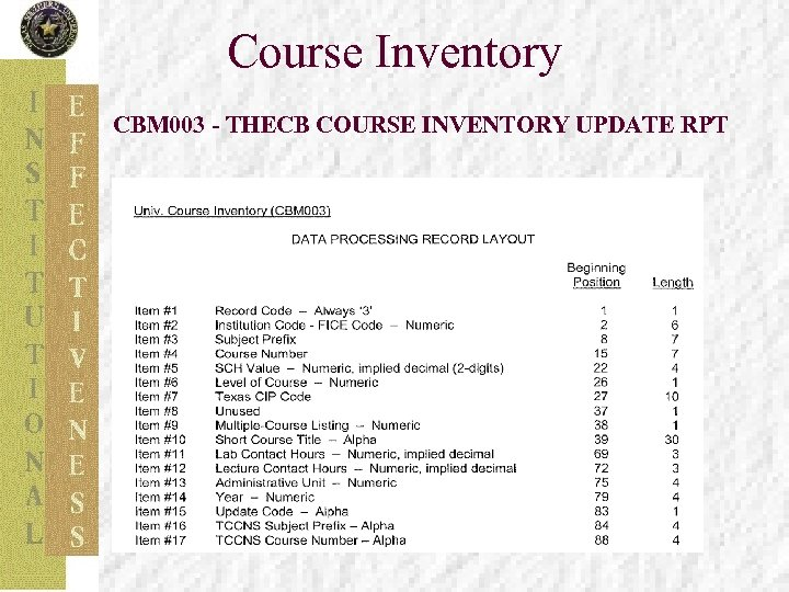 Course Inventory CBM 003 - THECB COURSE INVENTORY UPDATE RPT