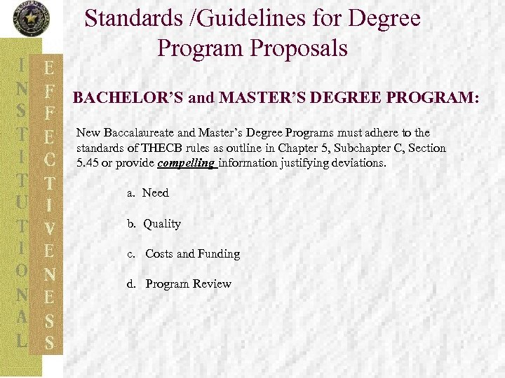 Standards /Guidelines for Degree Program Proposals BACHELOR'S and MASTER'S DEGREE PROGRAM: New Baccalaureate and