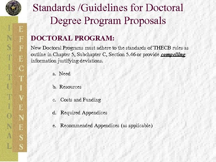 Standards /Guidelines for Doctoral Degree Program Proposals DOCTORAL PROGRAM: New Doctoral Programs must adhere