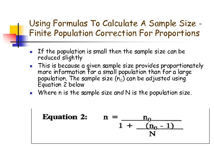 Using Formulas To Calculate A Sample Size Finite Population Correction For Proportions n n