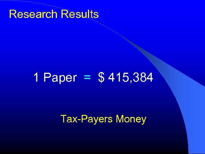 Research Results 1 Paper = $ 415, 384 Tax-Payers Money