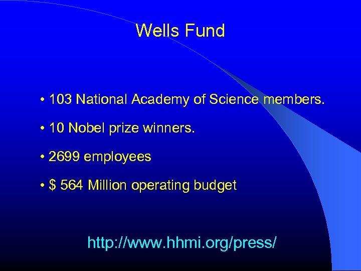 Wells Fund • 103 National Academy of Science members. • 10 Nobel prize winners.