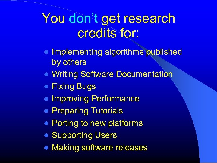 You don't get research credits for: Implementing algorithms published by others Writing Software Documentation