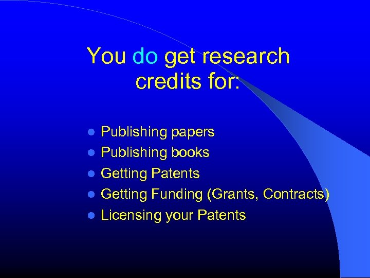 You do get research credits for: Publishing papers Publishing books Getting Patents Getting Funding
