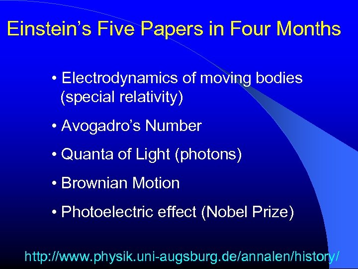 Einstein's Five Papers in Four Months • Electrodynamics of moving bodies (special relativity) •