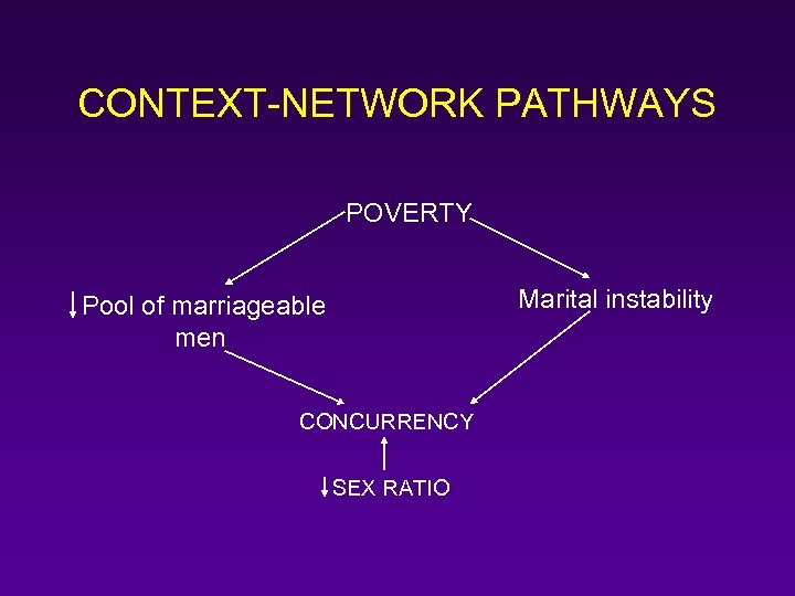 CONTEXT-NETWORK PATHWAYS POVERTY Marital instability Pool of marriageable men CONCURRENCY SEX RATIO