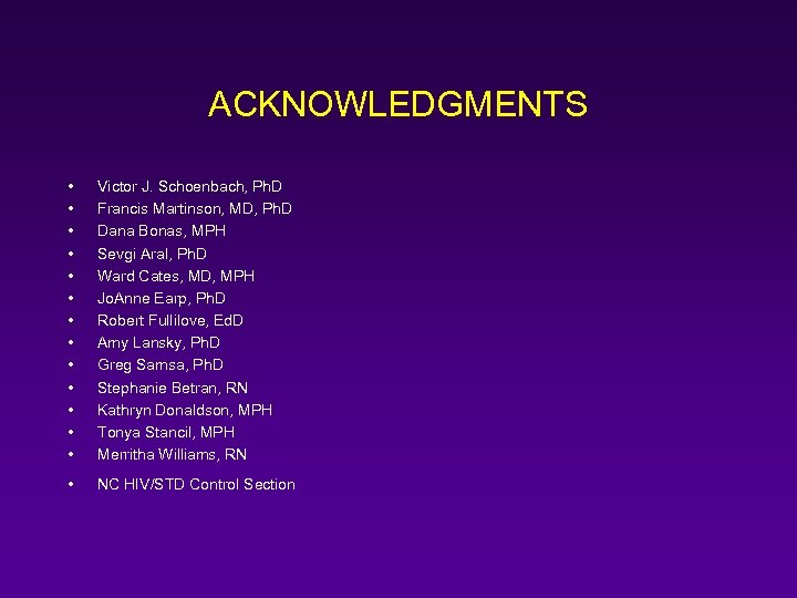 ACKNOWLEDGMENTS • • • • Victor J. Schoenbach, Ph. D Francis Martinson, MD, Ph.