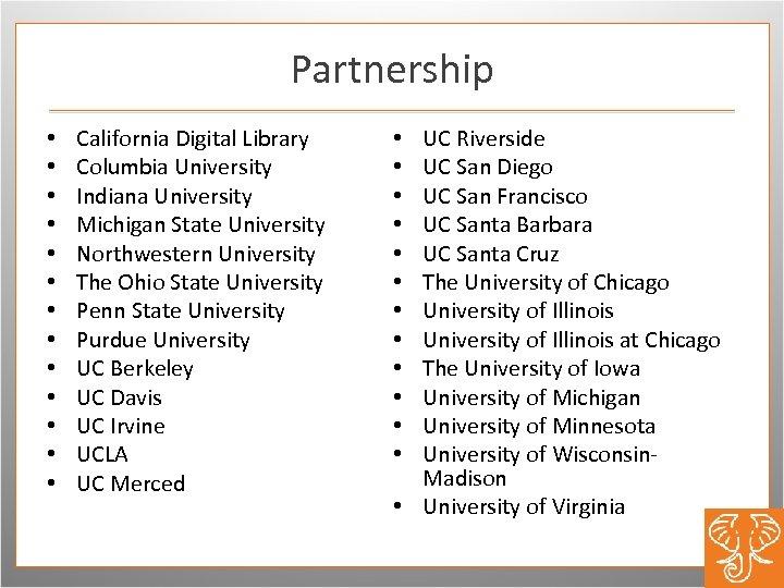 Partnership • • • • California Digital Library Columbia University Indiana University Michigan State