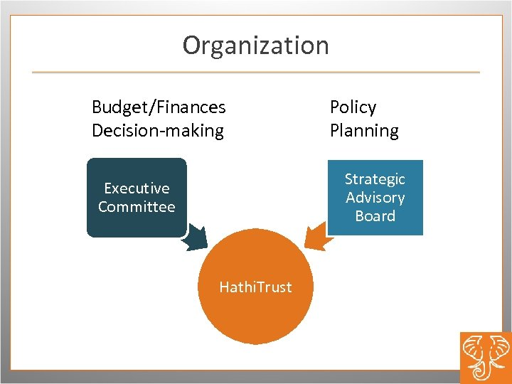 Organization Budget/Finances Decision-making Policy Planning Strategic Advisory Board Executive Committee Hathi. Trust