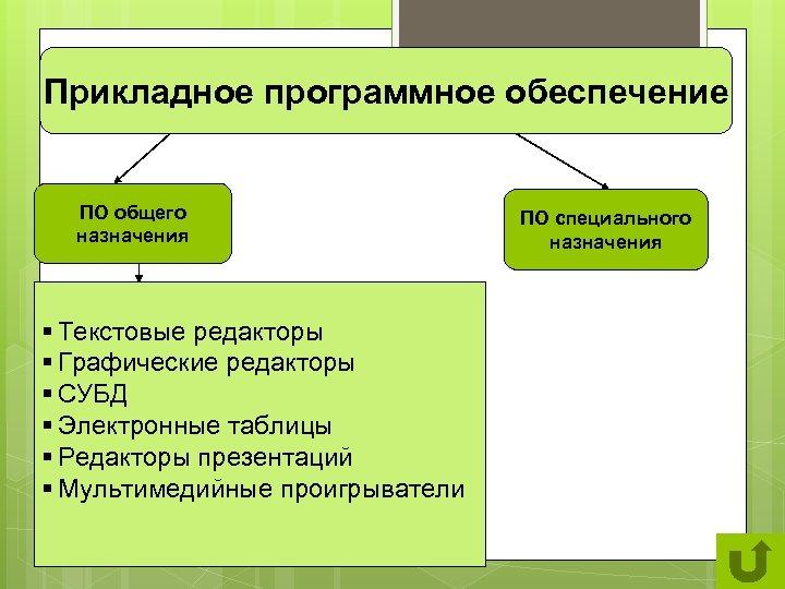 Прикладное программное обеспечение ПО общего назначения § Текстовые редакторы § Графические редакторы § СУБД