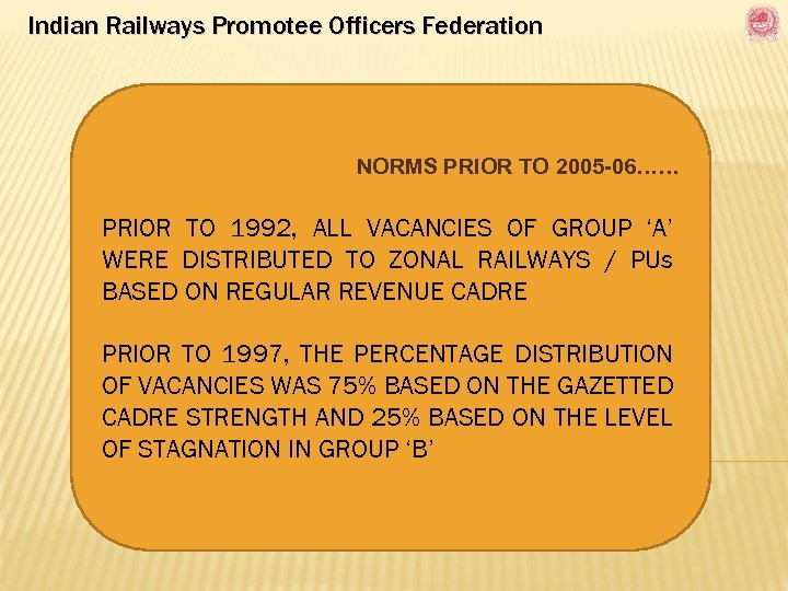 Indian Railways Promotee Officers Federation NORMS PRIOR TO 2005 -06…… PRIOR TO 1992, ALL