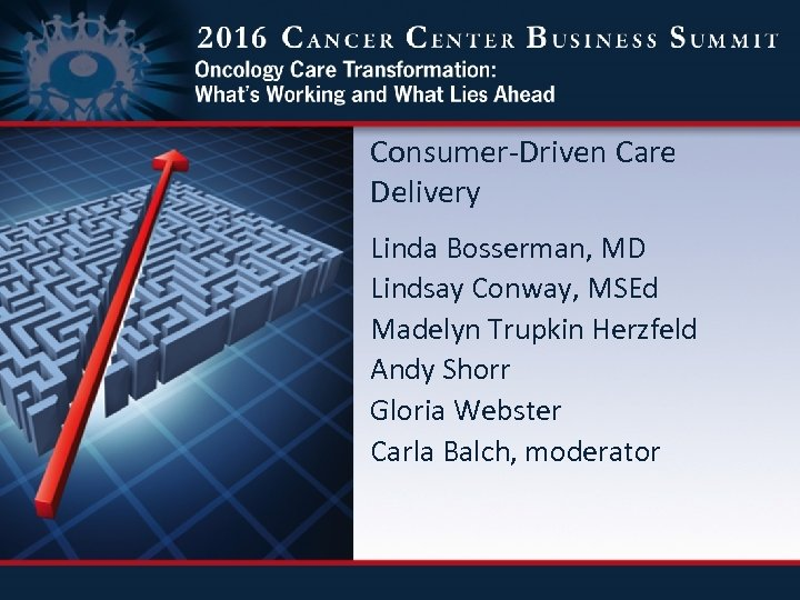 Consumer-Driven Care Delivery Linda Bosserman, MD Lindsay Conway, MSEd Madelyn Trupkin Herzfeld Andy Shorr