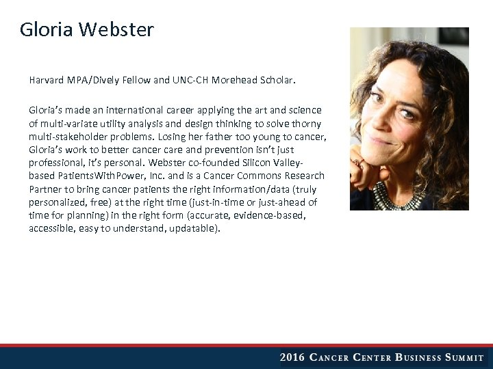 Gloria Webster Harvard MPA/Dively Fellow and UNC-CH Morehead Scholar. Gloria's made an international career