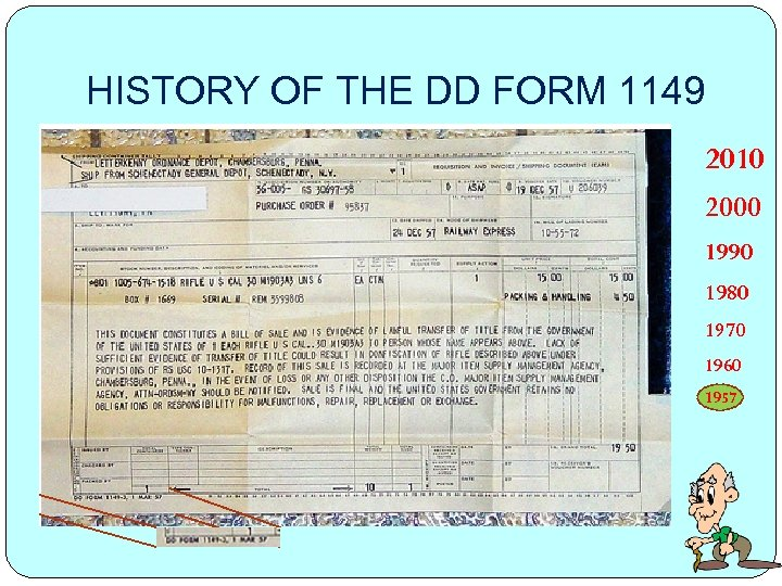 HISTORY OF THE DD FORM 1149 2010 2000 1990 1980 1970 1960 1957