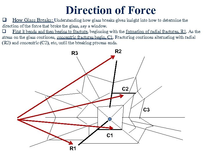 Direction of Force q How Glass Breaks: Understanding how glass breaks gives insight into