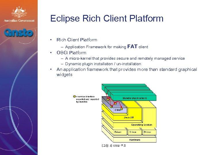 Eclipse Rich Client Platform • Rich Client Platform – Application Framework for making FAT