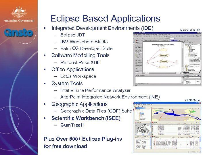 Eclipse Based Applications • Integrated Development Environments (IDE) Rational XDE – Eclipse JDT –