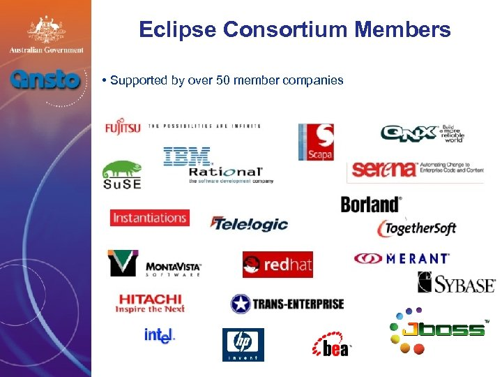 Eclipse Consortium Members • Supported by over 50 member companies *As of August 2004