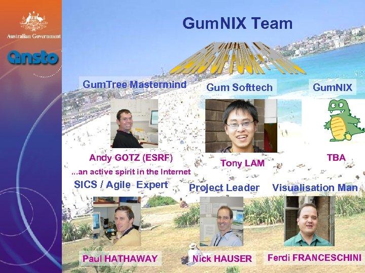 Gum. NIX Team Gum. Tree Mastermind Gum Softtech Andy GOTZ (ESRF). . . an