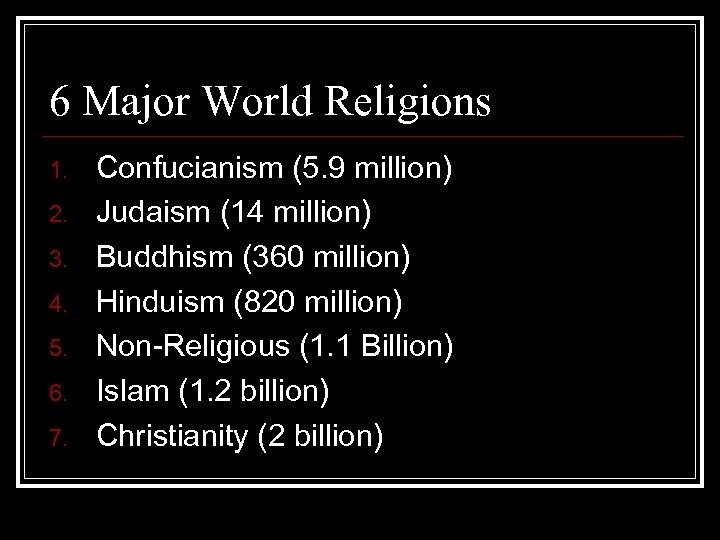 6 Major World Religions 1. 2. 3. 4. 5. 6. 7. Confucianism (5. 9