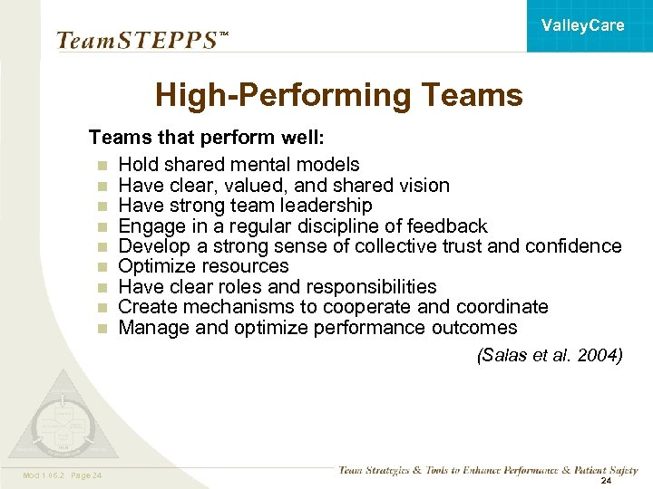 Valley. Care ™ High-Performing Teams that perform well: n Hold shared mental models n