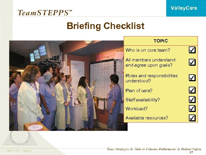 Valley. Care ™ Briefing Checklist TOPIC Who is on core team? All members understand