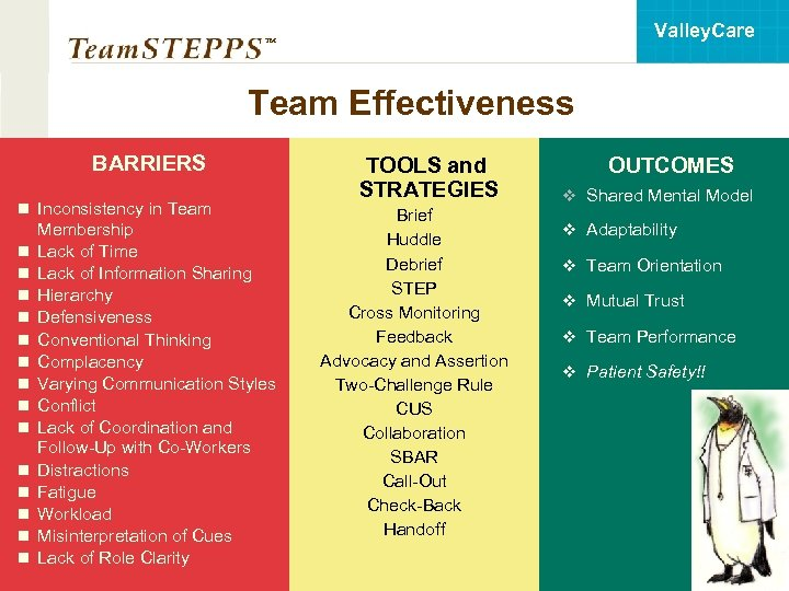 Valley. Care ™ Team Effectiveness BARRIERS n Inconsistency in Team n n n n