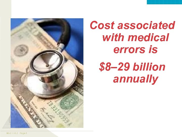 Valley. Care ™ Cost associated with medical errors is $8– 29 billion annually Mod