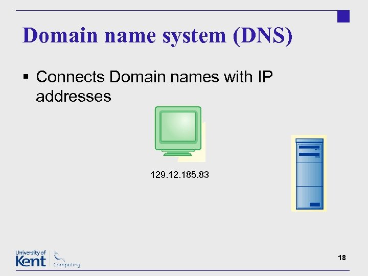 Domain name system (DNS) § Connects Domain names with IP addresses 129. 12. 185.