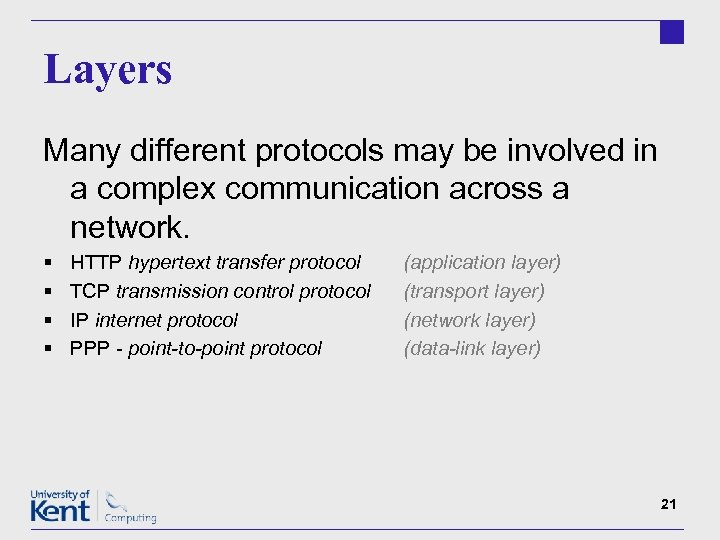 Layers Many different protocols may be involved in a complex communication across a network.