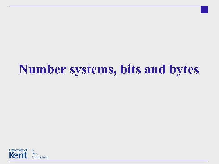 Number systems, bits and bytes
