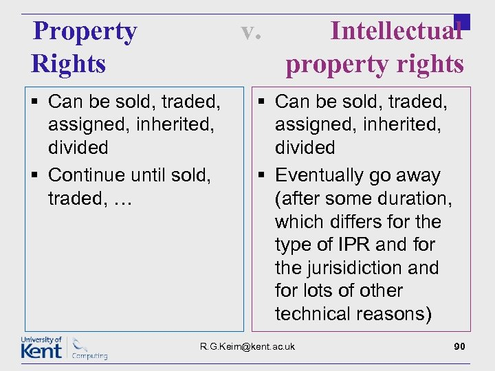 Property Rights v. § Can be sold, traded, assigned, inherited, divided § Continue until