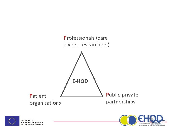 Professionals (care givers, researchers) E-HOD Patient organisations Public-private partnerships