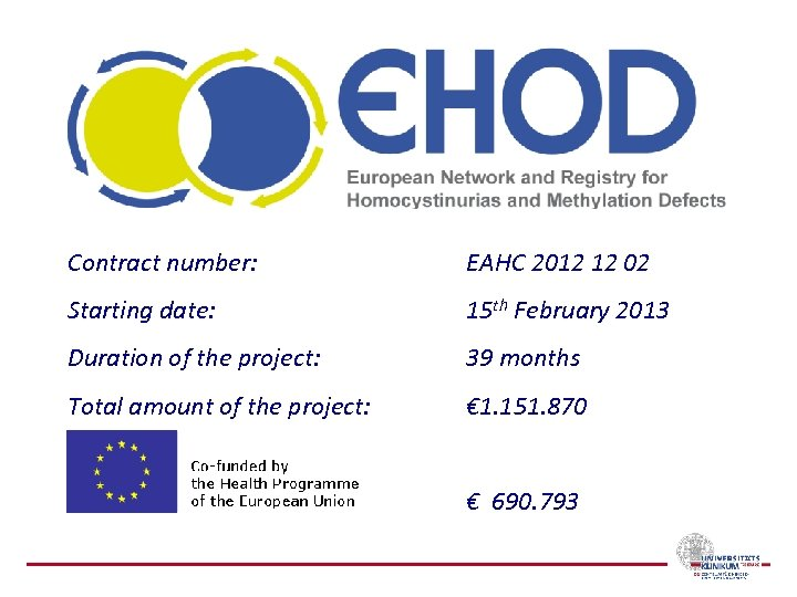 Contract number: EAHC 2012 12 02 Starting date: 15 th February 2013 Duration of