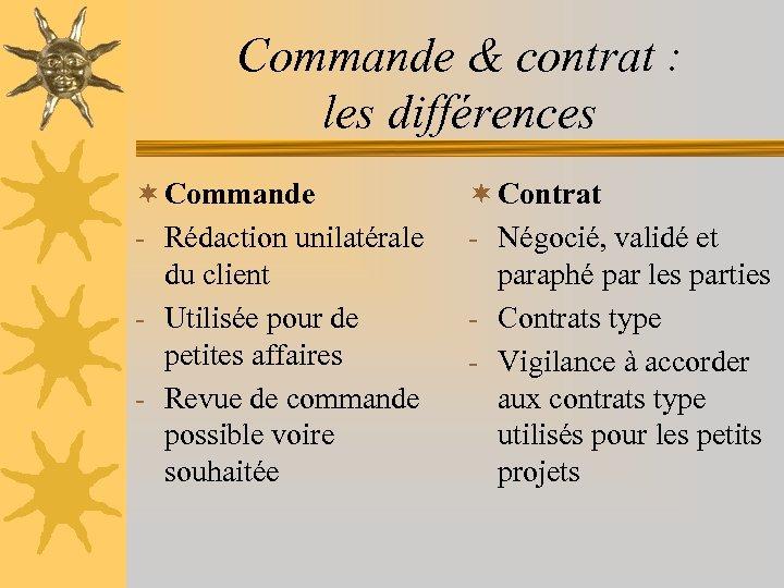 Commande & contrat : les différences ¬ Commande - Rédaction unilatérale du client -