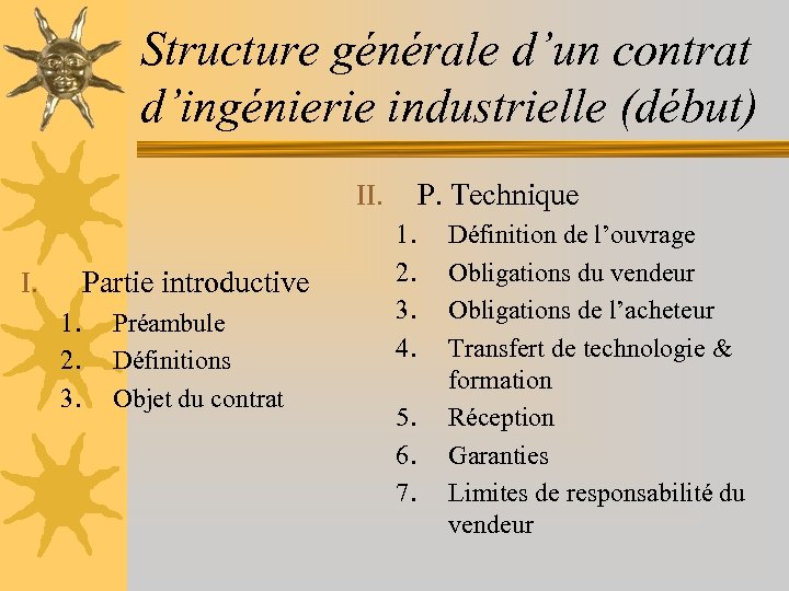 Structure générale d'un contrat d'ingénierie industrielle (début) P. Technique II. Partie introductive I. 1.