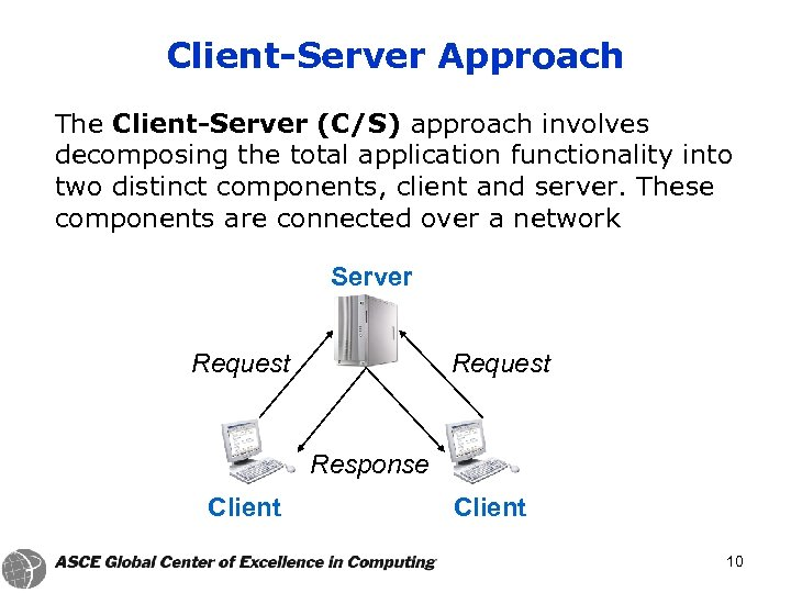 Client-Server Approach The Client-Server (C/S) approach involves decomposing the total application functionality into two