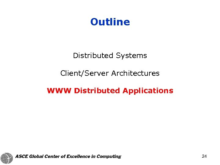 Outline Distributed Systems Client/Server Architectures WWW Distributed Applications 24